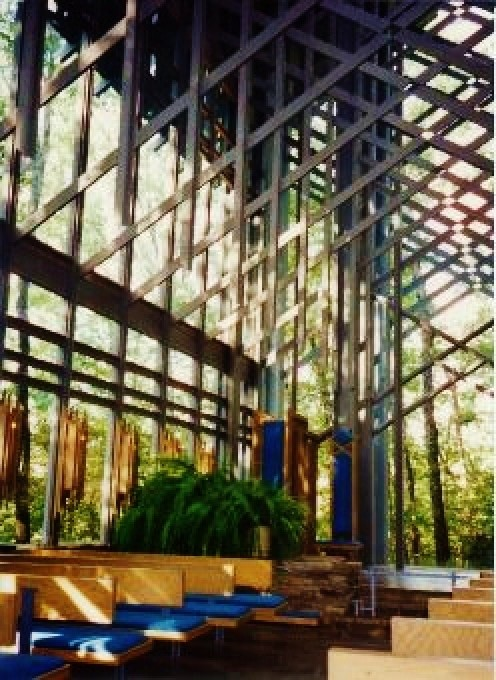 Inside partial view of Thorncrown Chapel