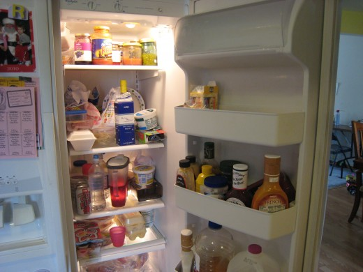 Look at all that trash in my fridge...UGH!
