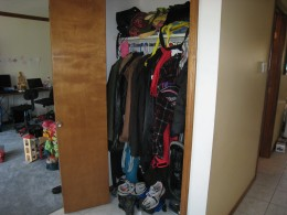 My cluttered closet.  Yes, there is a life jacket in there. No clue how that ended up in there.