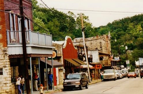 Town scenery - Notice the abundance of limestone used in construction of these buildings in Eureka Springs, Arkansas.