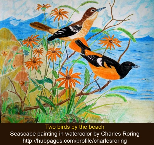 Two birds singing by the beach a seascape watercolor painting by Charles Roring