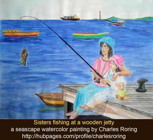 Sisters fishing on a wooden jetty A watercolor painting of seascape by Charles Roring