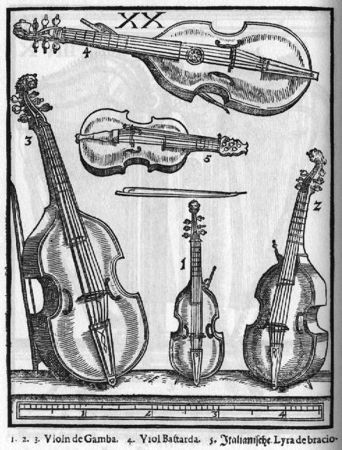 Viola da gamba original; Artist unknown