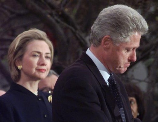 Former President Clinton was impeached and later acquitted after giving misleading testimony under oath and publicly denying he had had sexual relations with former intern Monica Lewinsky. His wife, Hillary, stood by him then and continues to do so.