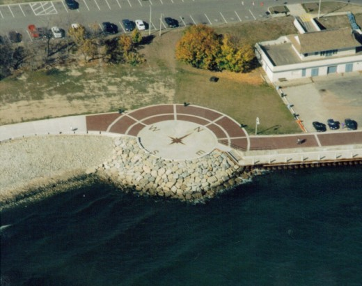 The compass at Spencer Smith Park about 1998 shortly after its construction and before the construction of the Waterfront Centre.