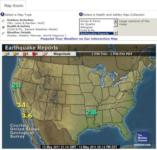 earthquake report in weather channel
