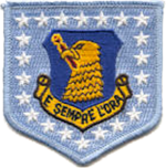 "Emblem of the 96th Bombardment Wing, Strategic Air Command. (Now the 96th Air Base Wing at Eglin AFB, Florida). The wording of the emblem means ""It is always the hour."""
