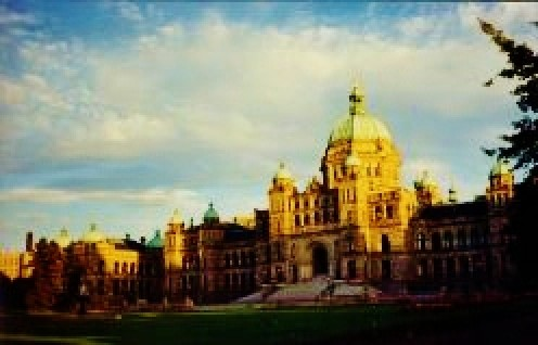 Parliament Buildings at dusk - At night the lights on these buildings are spectacular.