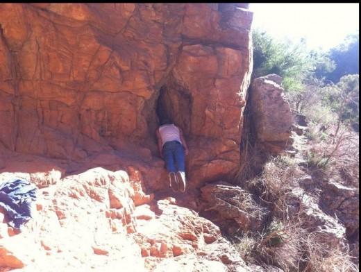 Planking in a rock