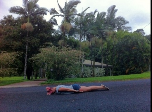 planking on a road