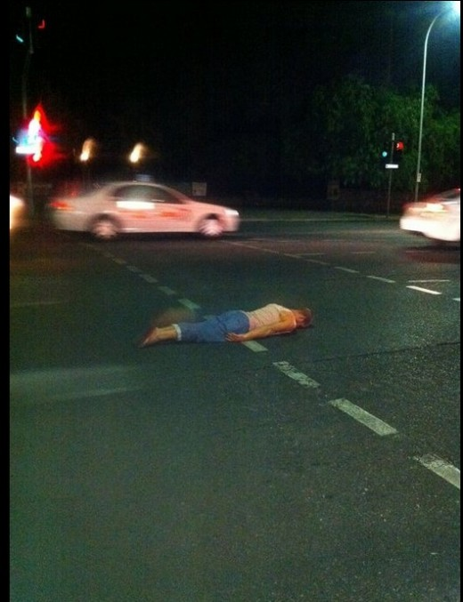 Planking on a busy hghway is especially dangerous