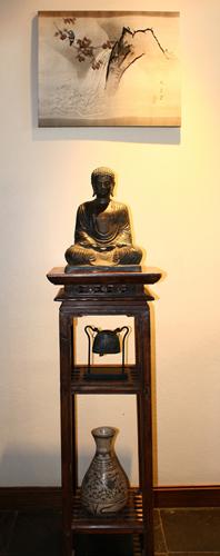 Vintage Japanese Silk Kimono, Buddha Image, Buffalo Bell, Antique Vase
