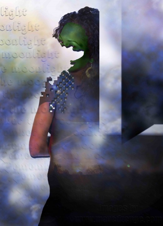 Photo illustration interpreting the poem:remember the moonlight by Victor Mavedzenge.