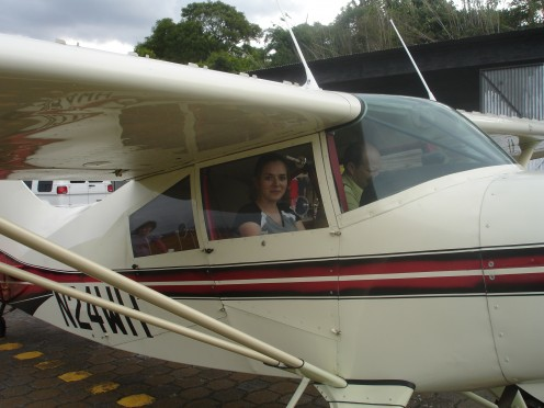 Laura Montano (part of our team) and Jason Patton (missionary pilot)  preparing for our up and coming missionary journey