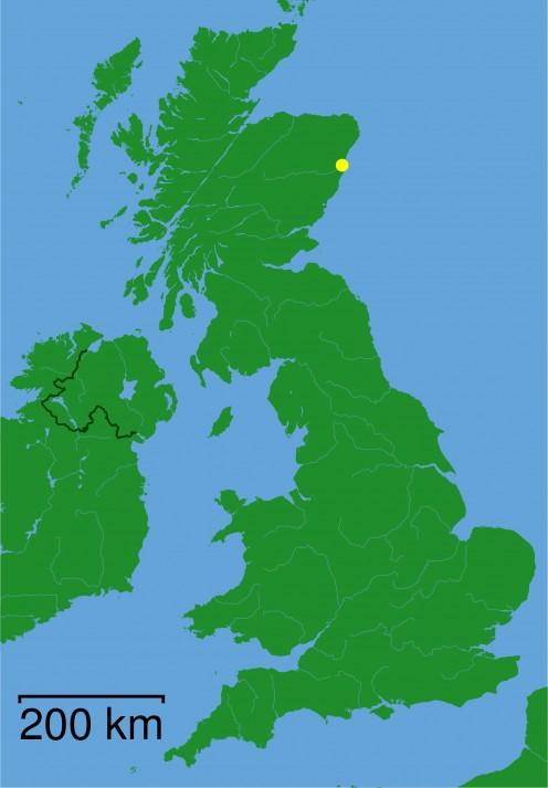 Map location of Aberdeen, Scotland