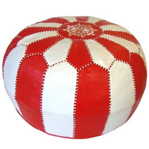 Classic pouf design in soft Moroccan leather.
