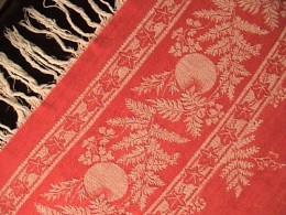 Cheery Antique Turkey Red Damask Tablecloth with Fringe