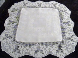 Antique filet crochet English suppercloth - can easily & carefully washed at home