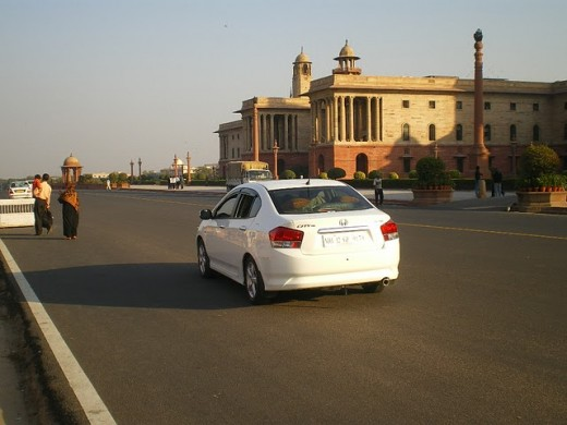 White Honda City at South Block.
