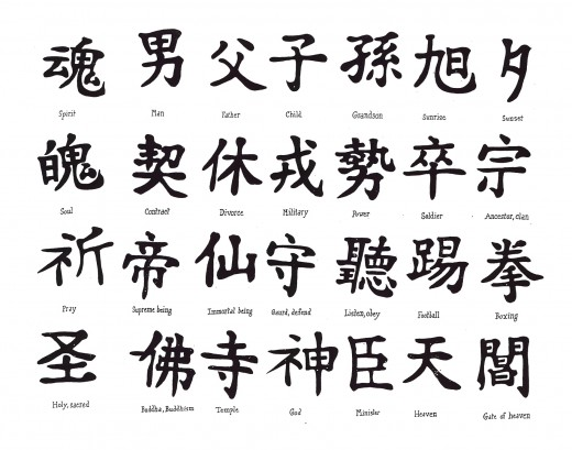 Examples of kanji characters.