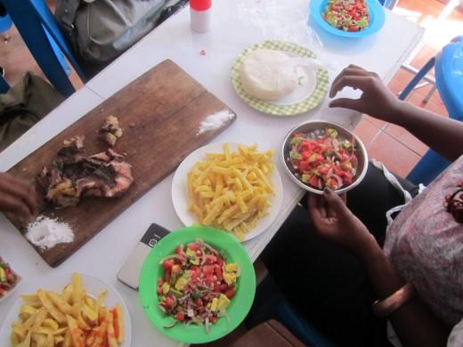 Nyama Choma, Chips, Kachumbari, Ugali...With my girls!