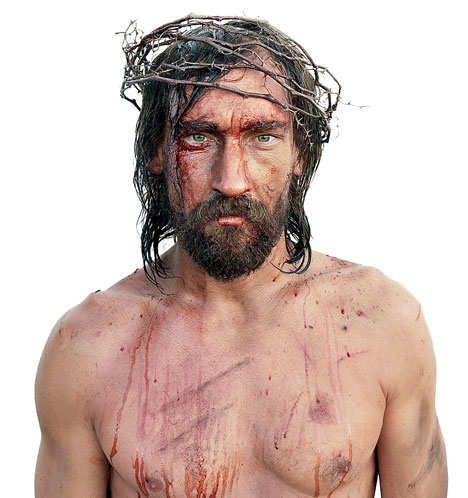 Jesus was beaten severely and then suffered a horrible death on the Cross for our sin.