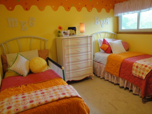 Two years later, my two daughters (2 and 4 years old) share the room.  All of the furniture still fits with some rearranging.  The reversible bedspreads allow each girl to have a different color.
