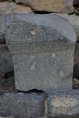 This rock fragment contains a Roman inscription, which I understand to be the work of a soldier bemoaning the rise of Christianity in the region