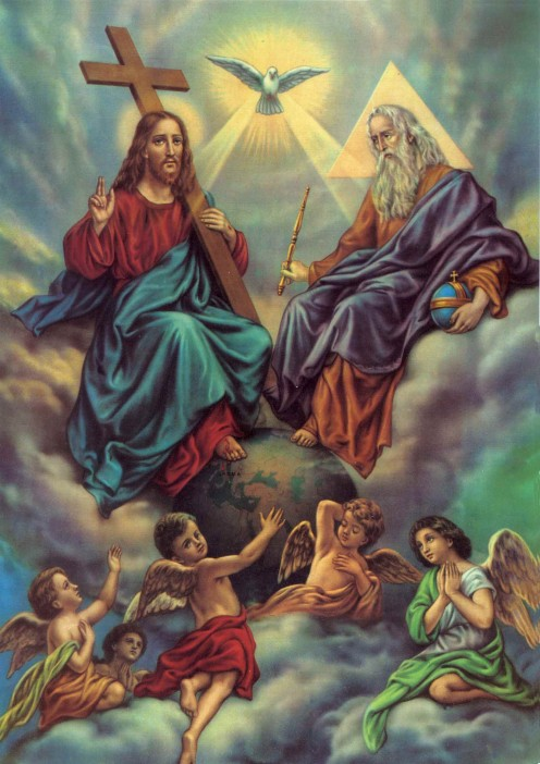 Holy Trinity:  God the Father, Jesus Christ, and the Holy Spirit.