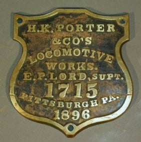 Porter Locomotive Builders Plate