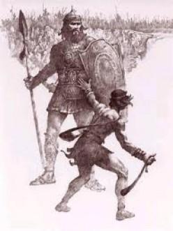 God defeats the Philistine Goliath through His servant David.