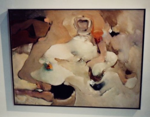 We both liked this painting.  It is by Dorothea Tanning and hangs in the Miro Foundation.