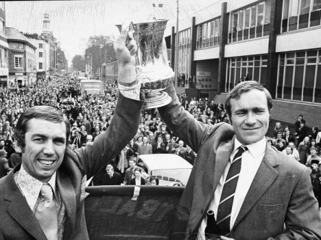 Marvin Hinton with club captain Ron Chopper Harris hold up the FA Cup after victory over Leeds United in 1970.