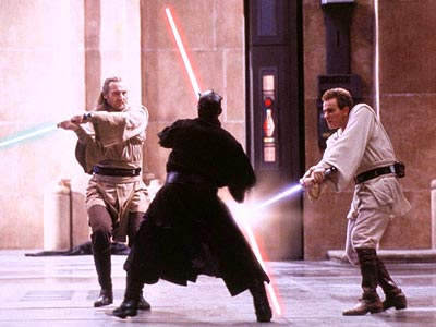 """""""Pictured here: ancient Jedi technique of spinning around instead of striking down your opponent. Not pictured: common sense."""""""