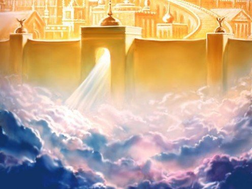New Jerusalem descends from Heaven.  Jesus Christ will set up His 1000 year reign, the Millenial Kingdom, and will rule and dwell among us.