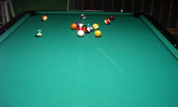 Photo 2:  A bad break where 4 balls did not hit the cushions, and the cue ball is in a bad position for the next player