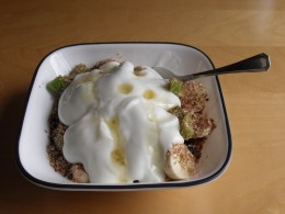 For breakfast there's nothing like a good bowl of home-made cereal topped with fresh fruit and yogurt.