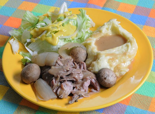 Pork Roast with Mashed Potatoes and Gravy, Salad and Honey Mustard Dressing