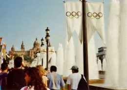 Olympic banners and fountains