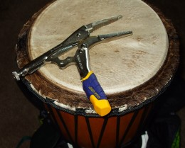Djembe hand-made by Doug Libby in the authentic west African way and the secret tool for tuning.
