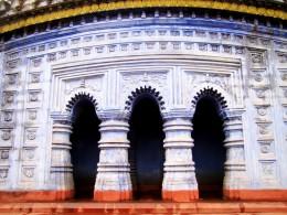 The triple entrance of Radha Madhav temple