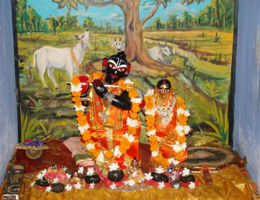 The beautiful idols of Lord Krishna & His divine consort Radha inside Radha Madhav temple