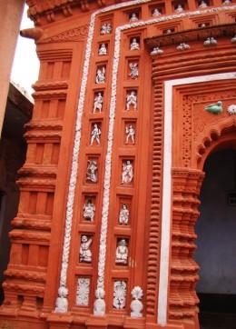 Stucco work on Lakshmi Narayan temple