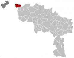 Map location of Mouscron, Belgium