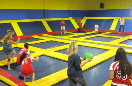 The Dodgeball Court at Sky High in Costa Mesa, CA.