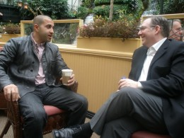 Joel Rosenberg (right) meets with Mosab Hassan Yousef, (left) the son of one of Hamas' founders, who converted to Christianity and spied for Israel