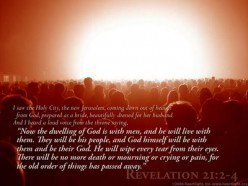 The New Jerusalem descending from Heaven where Jesus will reign and live with His people for 1000 years.