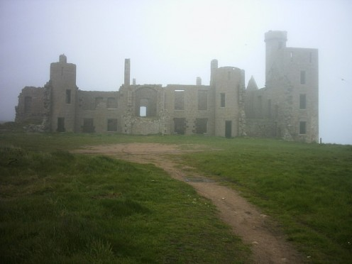 Slains Castle ruins on a foggy day