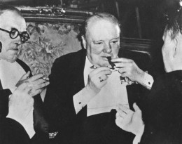 Prime Minister Winston Churchill Lighting Cigar at World War II Potsdam Conference