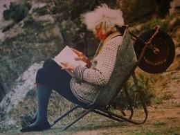 Rowena relaxing in a handy wheelbarrow - she is in her eighties here.